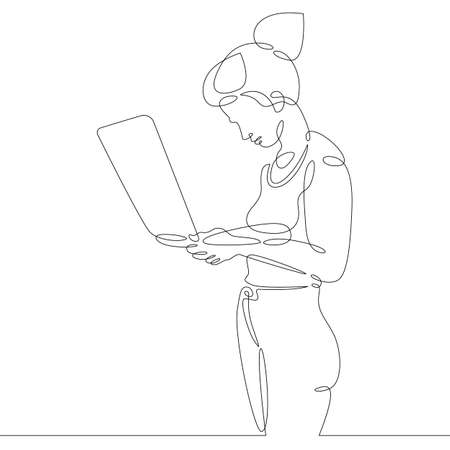 Female character at the work table in the office. Workplace laptop designer programmer manager.