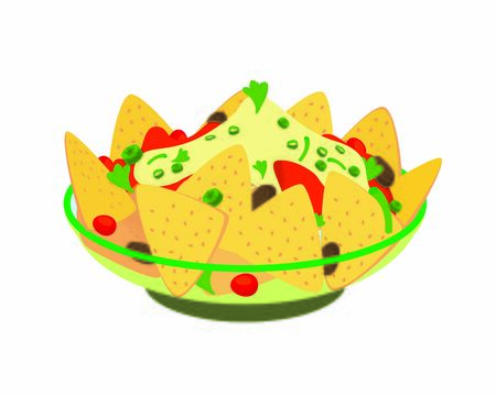 Detailed Nachos the Mexican Food Illustration Foto de archivo - 135046375