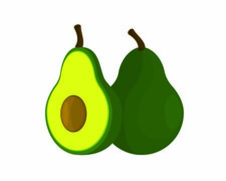 Detailed Chopped and Intact Avocado Illustration Illusztráció