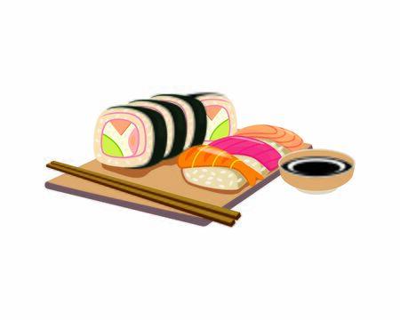 Detailed Sushi the Japanese Food with Chopsticks Illustration Ilustração Vetorial