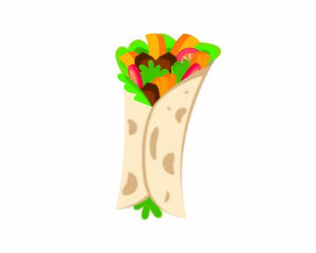 Detailed Tortilla combined with Burrito the Mexican Food Illustration