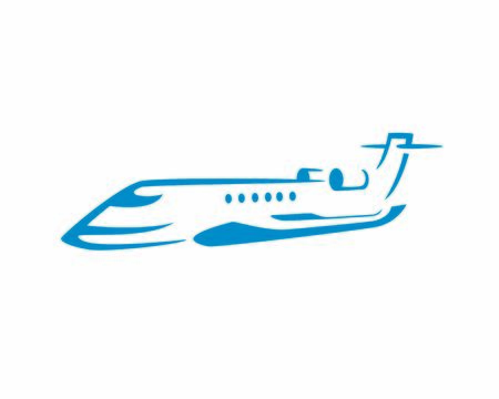 Flying Private Jet Symbol Silhouette
