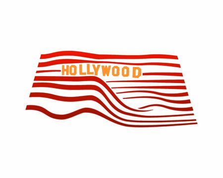 Hollywood Signboard on Hills Illustration with Silhouette Style 向量圖像