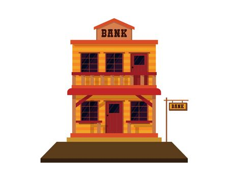 Detailed Old Western Bank Illustration