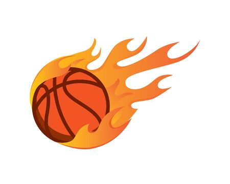 Modern Flaming Hot Basket Ball Illustration