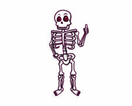 Friendly Skeleton Giving Recommendation and Thumbs Up Gesture
