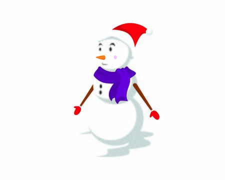 Smiling Snowman with Gloves, Scarf, and Christmas Hat Illustration  イラスト・ベクター素材