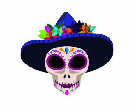 Day of the Dead Mexico Symbol with Ornamental Skull and Hat Illustration