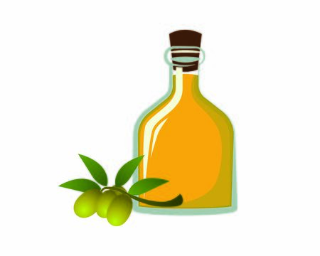 Detailed Olive Oil with the Bottle and Olive Fruits Illustration