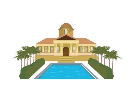 Detailed Mansion and Luxury House Illustration Ilustração
