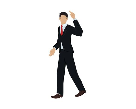 CEO or Employee with Cool Walking Gesture Illustration