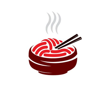 Hot Noodle in Bowl Illustration