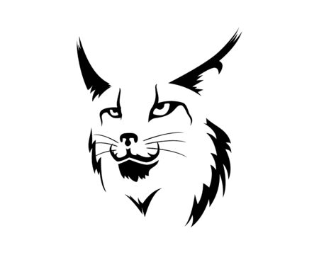 Lynx Face Illustration with Silhouette Style