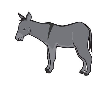 Detailed Donkey with Standing Gesture Illustration