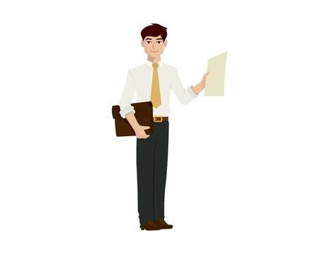 Detailed Businessman Illustration with Cartoon Style 向量圖像