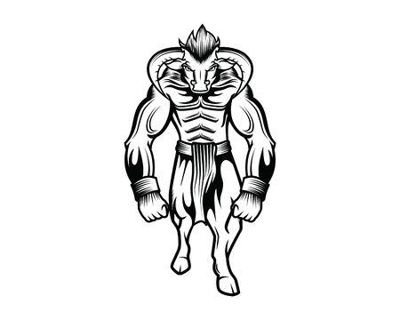 Ancient Greek Mythological Monster Minotaur Illustration Illustration