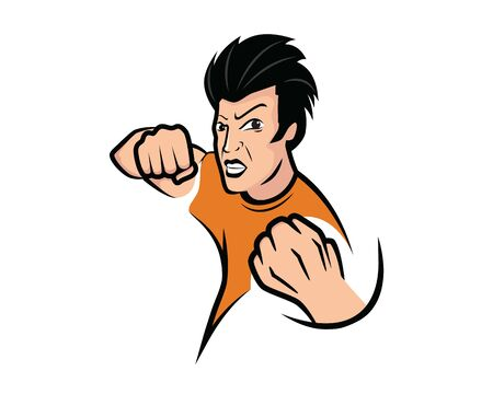 Angry and Mad Man with Punching Gesture Illustration