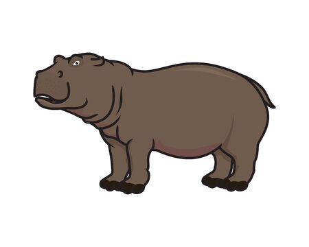 Detailed Hippopotamus Illustration with Standing Gesture