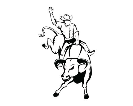Rodeo or Cowboy Riding a Wild and Furious Bull Illustration with Silhouette Style
