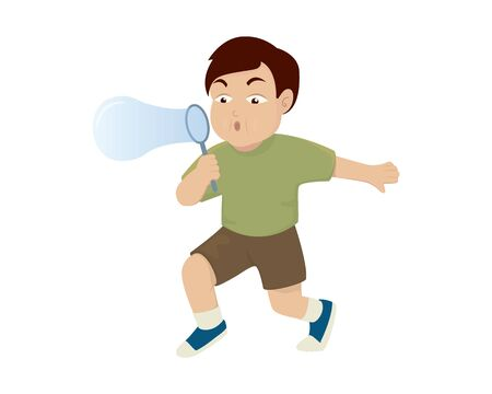 a Boy Blowing Bubbles Illustration