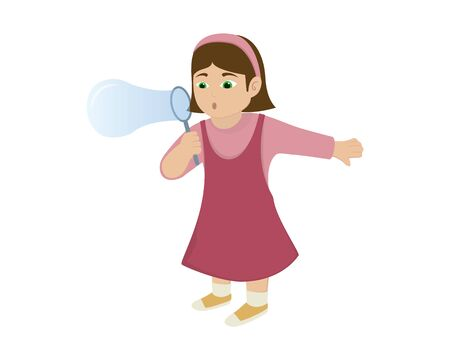a Girl Blowing Bubbles Illustration Illustration
