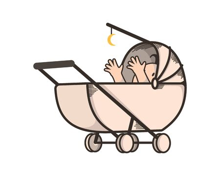 Cute and Playful Baby on Stroller Illustration