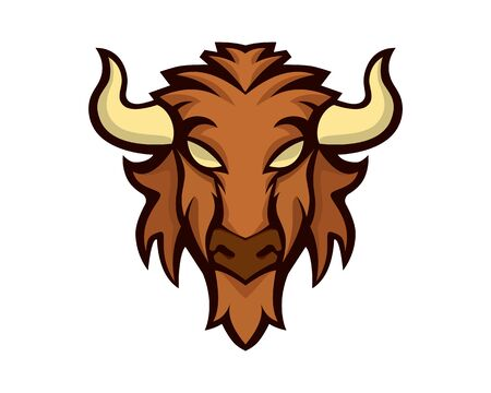 Detailed Bison Head Mascot and Emblem Illustration