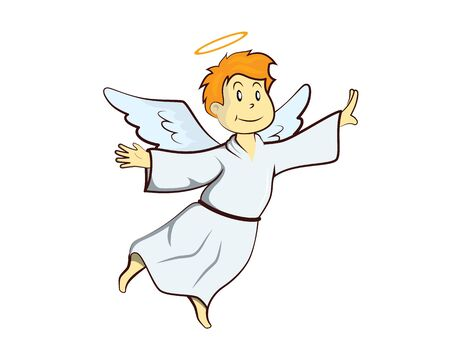 Cute Flying Angel Illustration with Cartoon Style