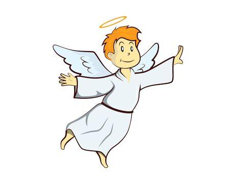 Illustration mignonne d'ange volant avec le style de dessin animé