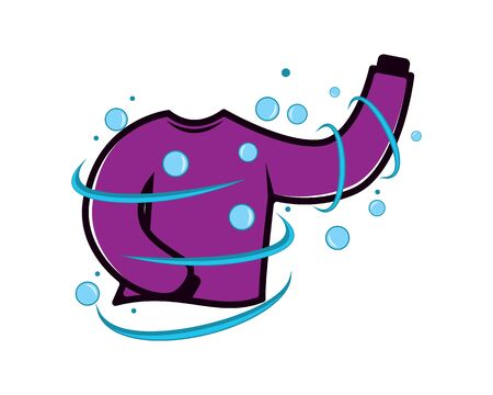 Laundry Symbol with Sweater combined with Bubbles and Water Illustration