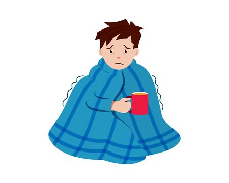 Sick Man Holding a Cup of Hot Water combined with Blanket Illustration with Cartoon Style