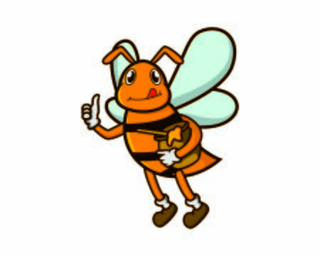 Bee Holding Honey Illustration with Cartoon Style Ilustracja
