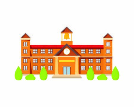 Detailed School Building with Trees Illustration