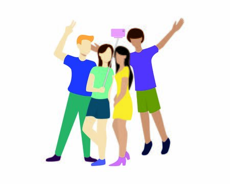 Group of People are Having Selfie Together Illustration