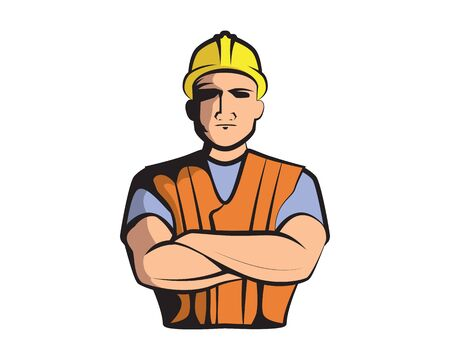 Construction Worker Character Illustration