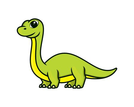 Cute and Sweet Brontosaurus Mascot Illustration