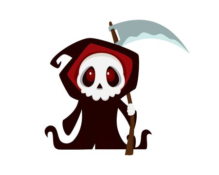 Cute and Sweet Grim Reaper with Cartoon Style