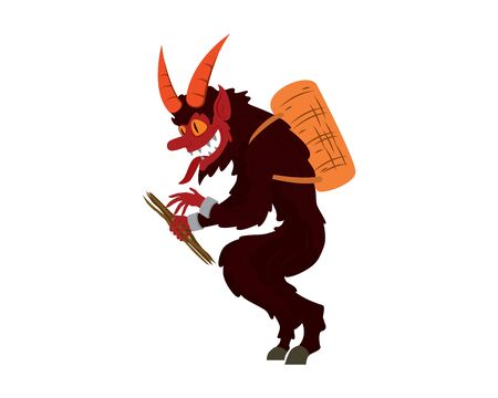Detailed Scary Krampus Illustration Vector Ilustracja