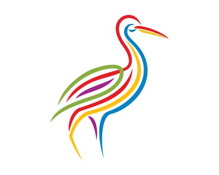 Colorful Standing Egret Illustration with Silhouette Style  イラスト・ベクター素材