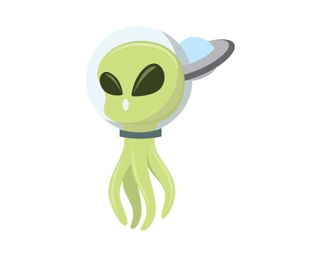 Cute and Sweet Alien with Flying Ufo Behind Illustration