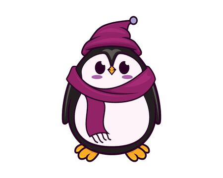Cute and Sweet Penguin Wearing Warm Hat and Scarf with Cartoon Style Illustration