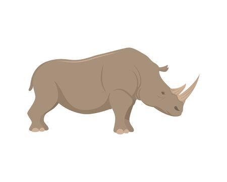 Detailed Rhinoceros with Standing Gesture Illustration