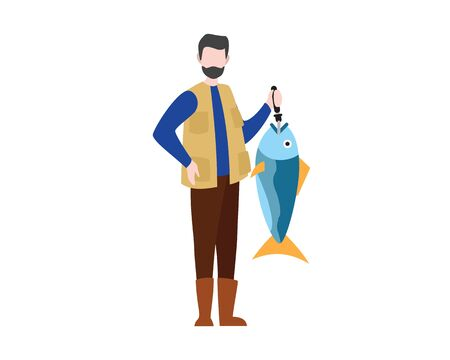 Fisherman Holding Big Fish Illustration with Cartoon Style