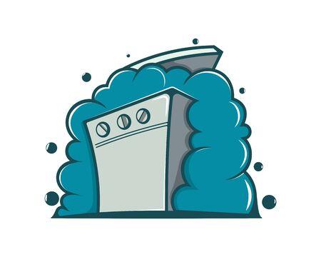 Laundry Symbolization with Washing Machine combined with Bubbles Çizim