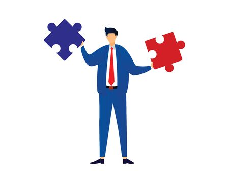 Businessman Holding Puzzles Illustration as Symbolization of Solving Problem or Found Solution Ilustracja