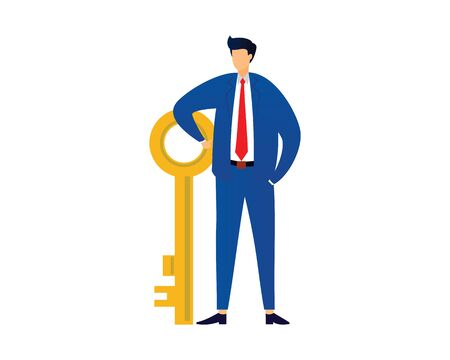 Businessman with Key Illustration as Symbolization of Key of Success