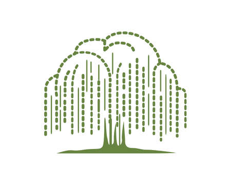Willow Tree Symbolization with Simple Illustration or Silhouette Style Vecteurs