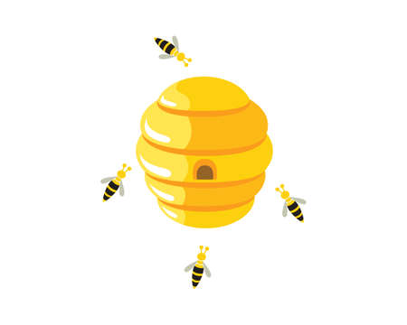 Beehive with Flying Bees Around Illustration