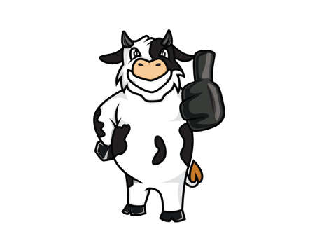 A Cow Recommending Gesture Mascot Illustration