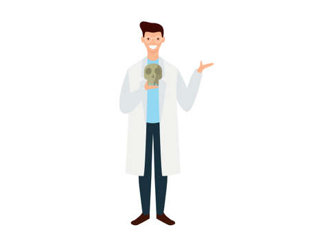 Anthropologist with Lab Coat Holding Skull Illustration Vector